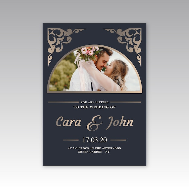 Wedding invitation template design Free Vector