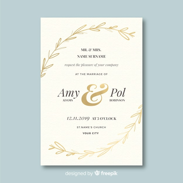 Wedding invitation template in flat design Free Vector