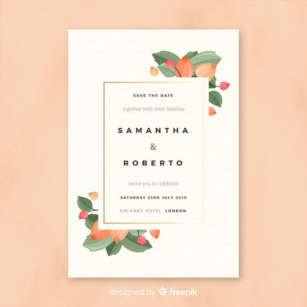 Wedding invitation template in flat design Free Vector