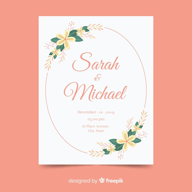 Wedding invitation template flat design Free Vector