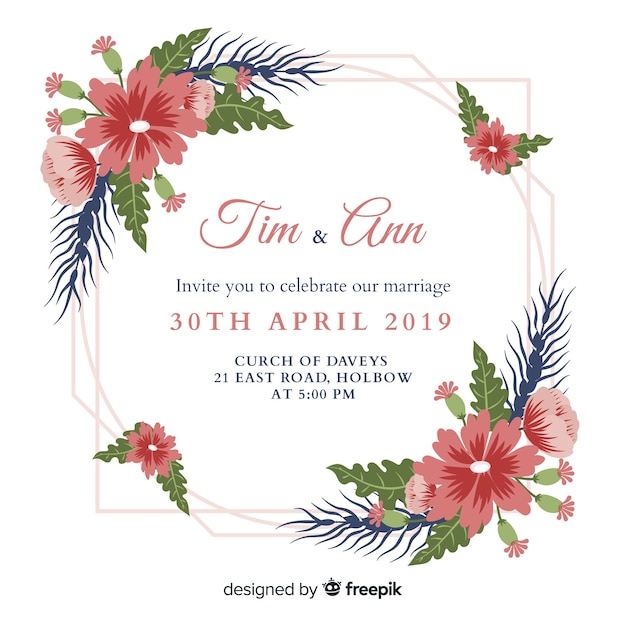 Wedding invitation template flat design Free Vector
