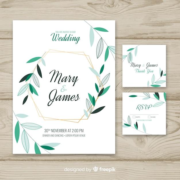 Wedding invitation template on flat design Free Vector