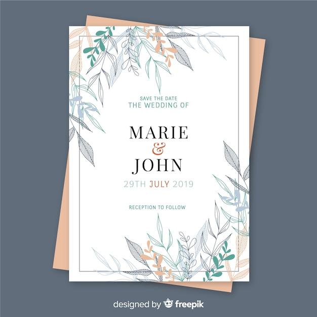 Wedding invitation template floral design Free Vector