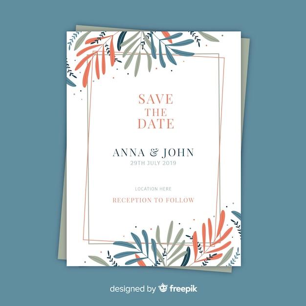 Wedding invitation template floral design Vector | Free Download