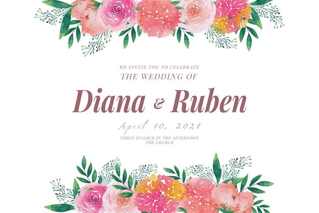 結婚式の招待状のテンプレート花のフレーム 無料ベクター
