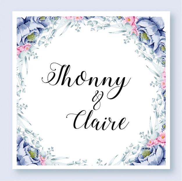 Wedding invitation template floral watercolor Premium Vector