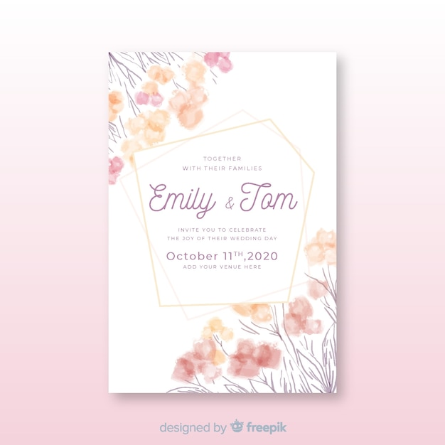 Wedding invitation template hand-drawn with flowers Free Vector