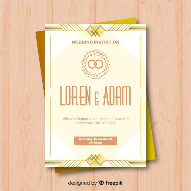 wedding invitation template in art deco style vector free download