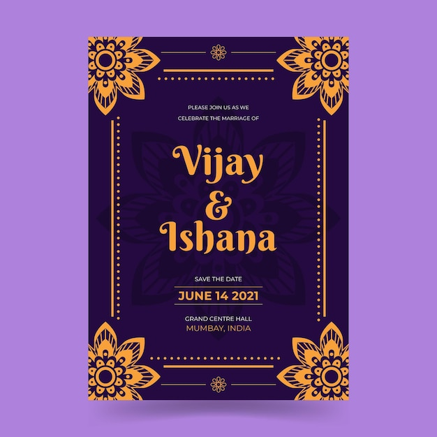 Wedding invitation template for indian couple Free Vector