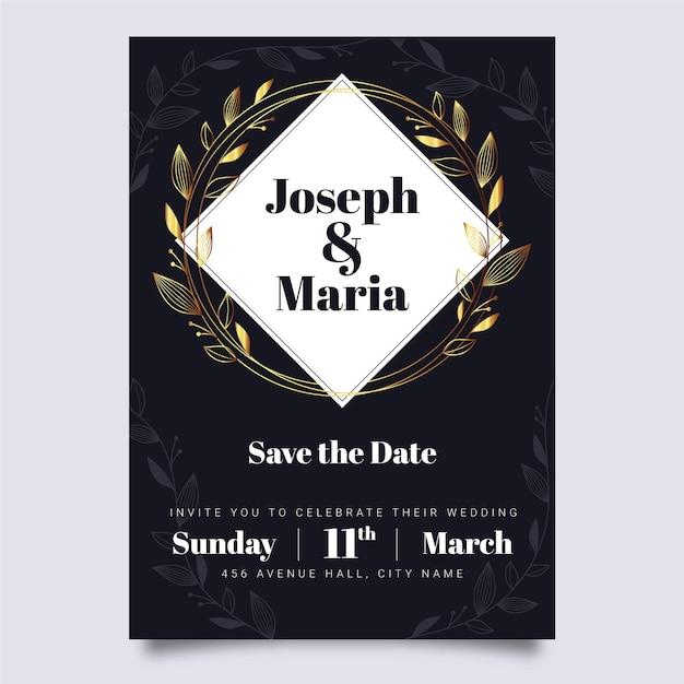 Stile di lusso del modello dell'invito di nozze Vettore gratuito