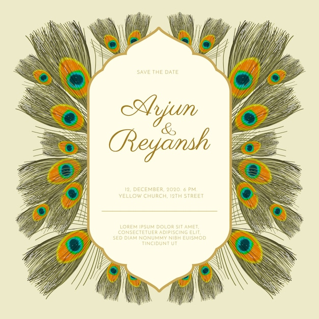 Wedding invitation template peacock feathers style Free Vector