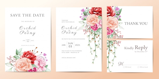 Wedding invitation template set of flowers bouquet Premium Vector