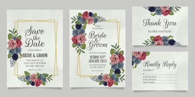 꽃 수채화 장미 디자인 설정 결혼식 초대장 서식 파일 프리미엄 벡터