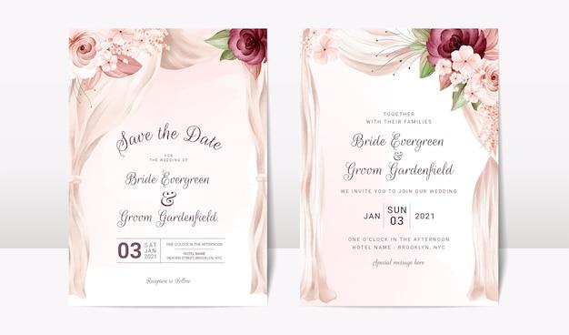Шаблон свадебного приглашения с акварельной аркой и цветочными розами Premium векторы