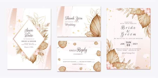Wedding invitation template set Premium Vector