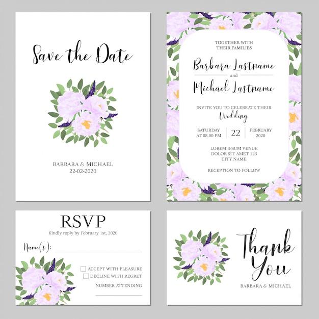 Wedding invitation template set Premium Vector