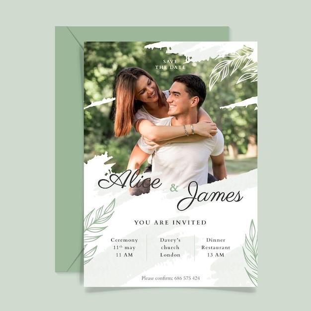 結婚式の招待状のテンプレートのテーマ 無料ベクター