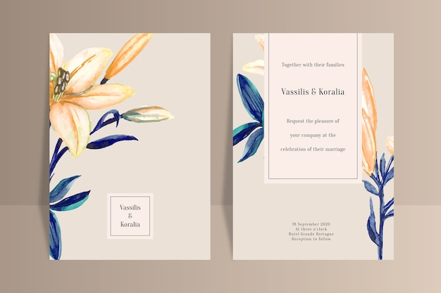 大きな花の結婚式の招待状のテンプレート 無料ベクター
