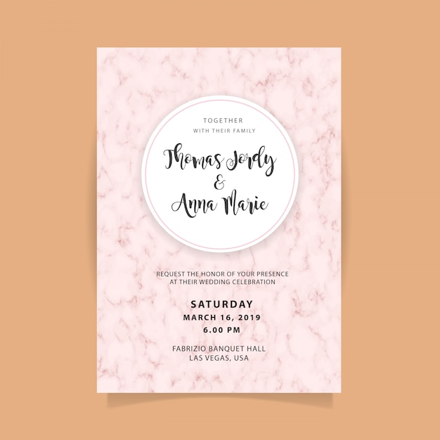 Wedding invitation template with abstract marble background Premium Vector