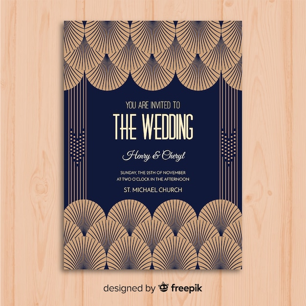 Wedding Invitation Template With Beautiful Art Deco Concept Vector