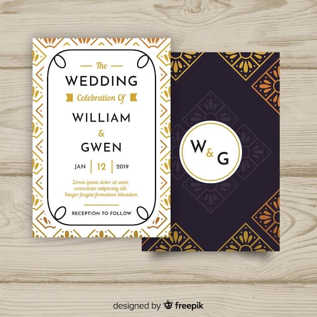 Wedding Invitation Template With Beautiful Art Deco Design Vector