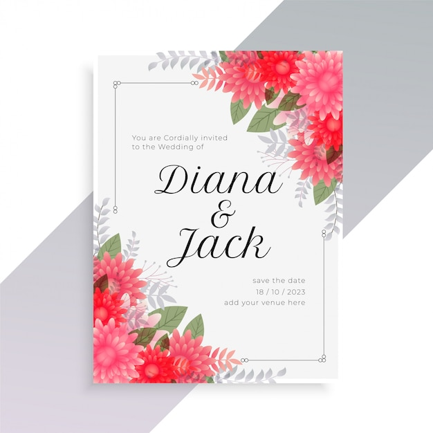 Wedding invitation template with beautiful floral art Free Vector
