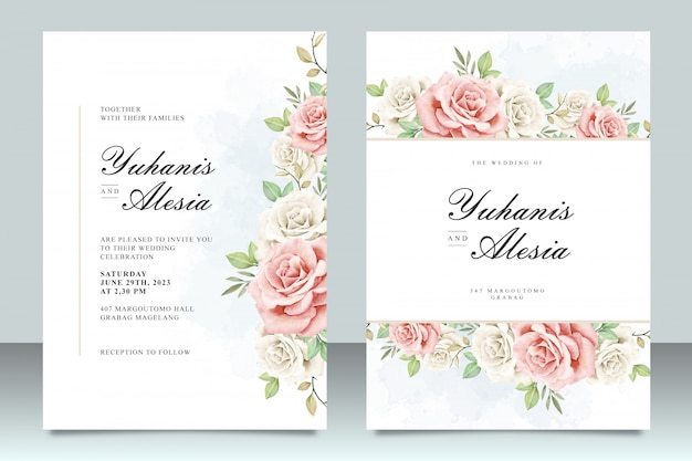 Wedding invitation template with beautiful flowers and leaves Premium Vector