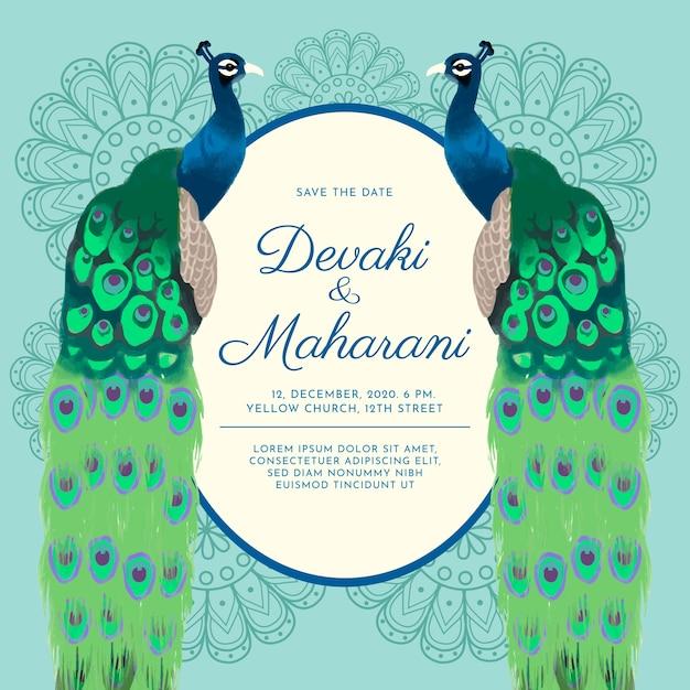 Peacock Invitations Template Free from image.freepik.com