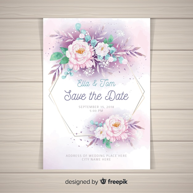 Wedding Invitation Template With Beautiful Peony Flowers Vector