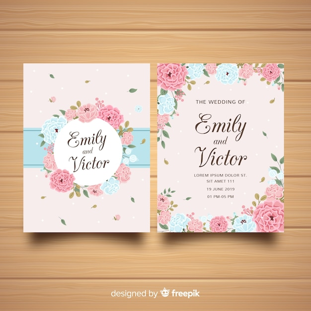 Wedding invitation template with beautiful peony flowers Free Vector