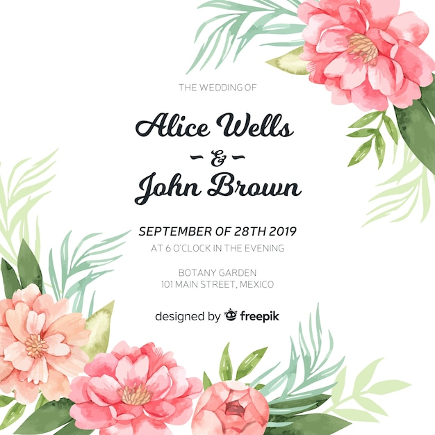 Wedding invitation template with beautiful watercolor peony flowers Free Vector