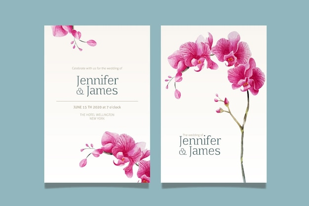 Wedding invitation template with a big flower Free Vector