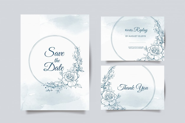 Wedding invitation template with blue flower Premium Vector