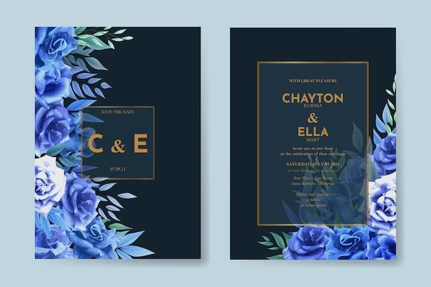 파란 장미 꽃 세트와 결혼식 초대장 서식 파일 프리미엄 벡터