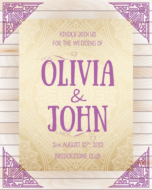 Wedding invitation template with corner decoration Free Vector
