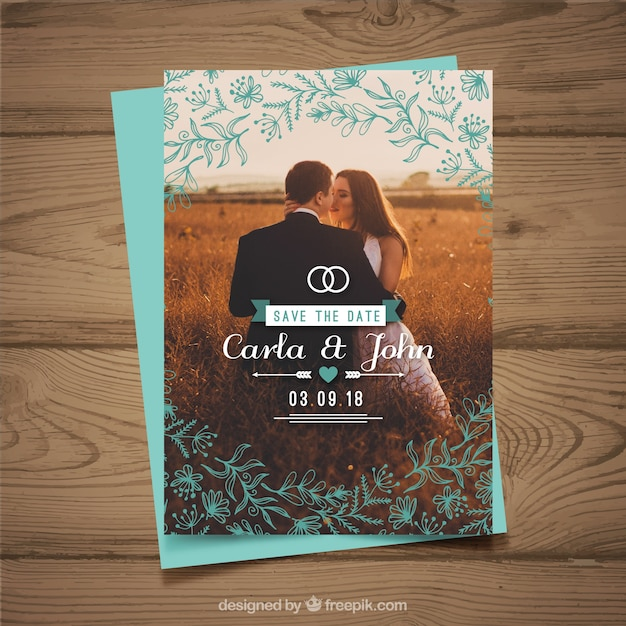 Save the date vectors photos and psd files free download wedding invitation template with couple stopboris Choice Image