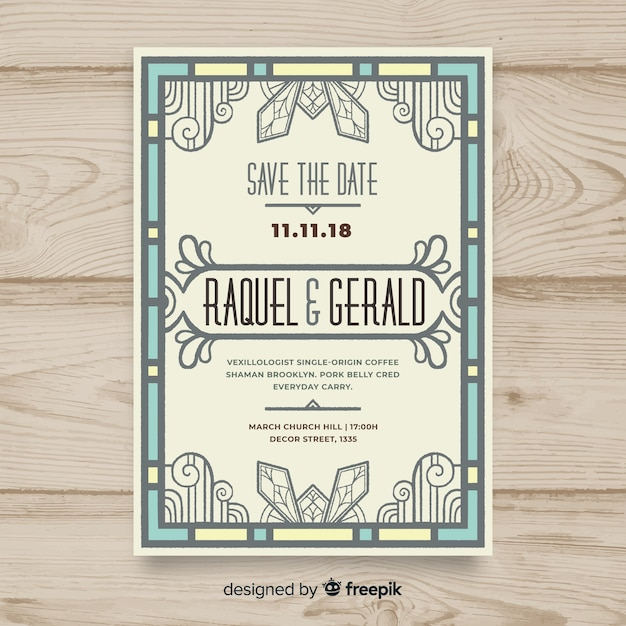 Wedding Invitation Template With Decorative Art Deco Concept Vector