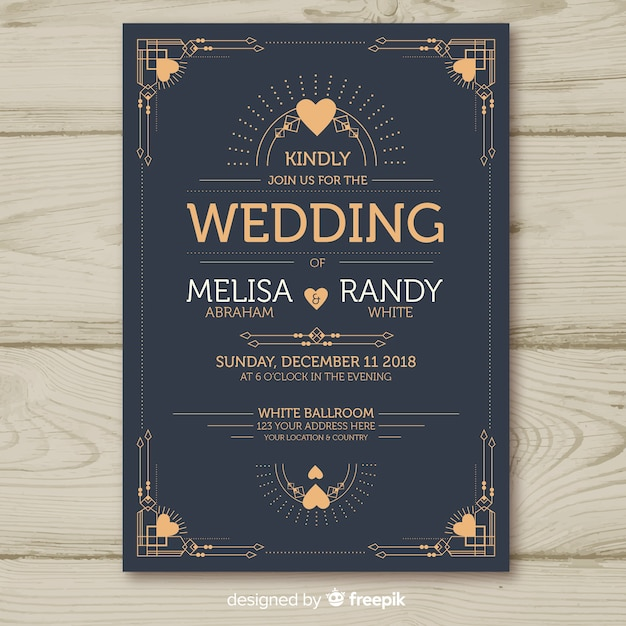 Wedding Invitation Template With Decorative Art Deco Design Vector