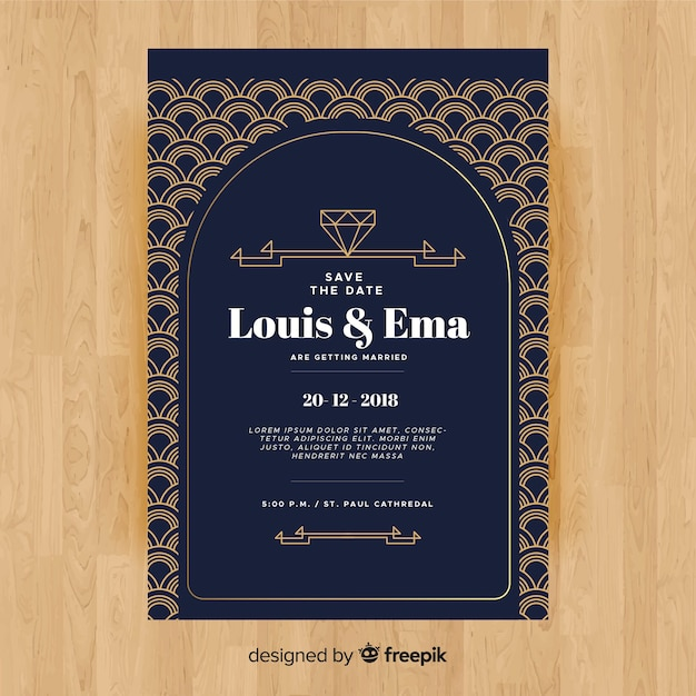 Wedding invitation template with decorative art deco design Free Vector