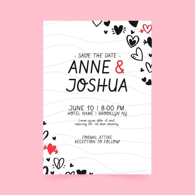 落書きの心と結婚式の招待状のテンプレート Premiumベクター