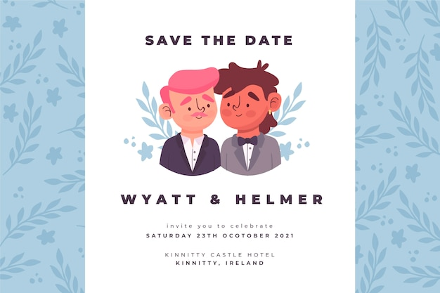 Wedding invitation template with drawing Free Vector