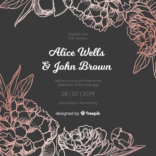 Wedding invitation template with elegant peony flowers Free Vector