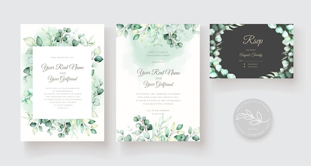 Wedding invitation template with eucalyptus leaves set Free Vector