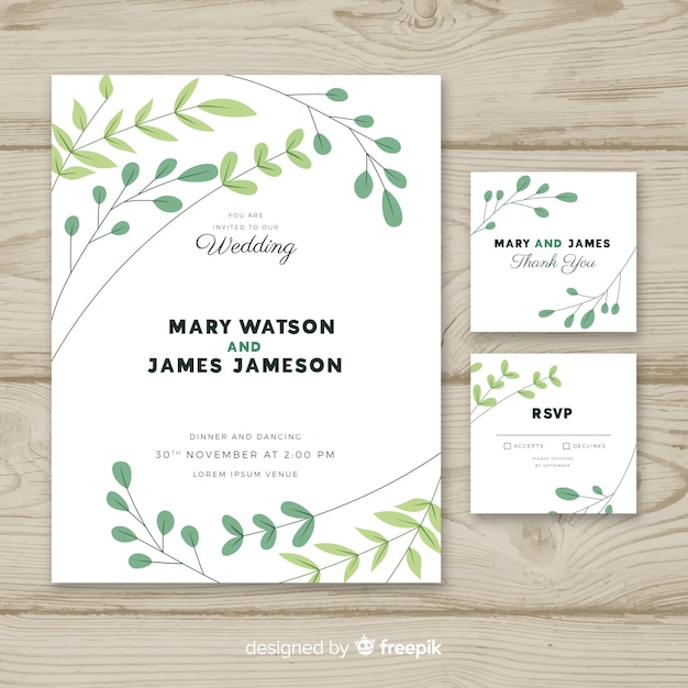 Wedding invitation template with flat design Free Vector