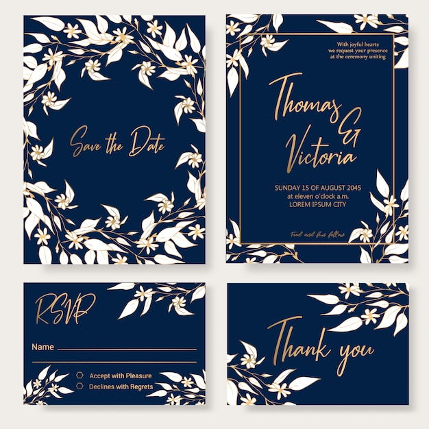 Wedding invitation template with floral decorative elements. Premium Vector