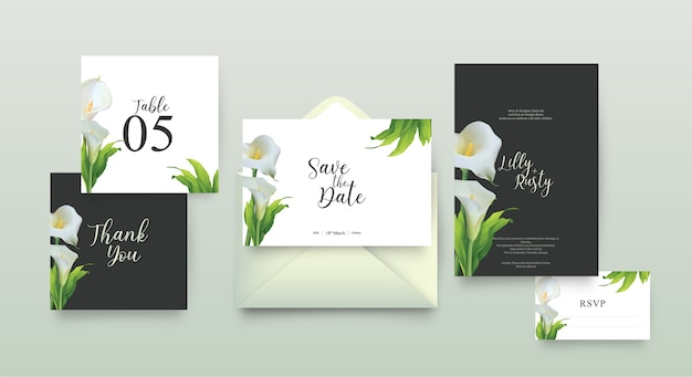 花柄の結婚式の招待状のテンプレート Premiumベクター