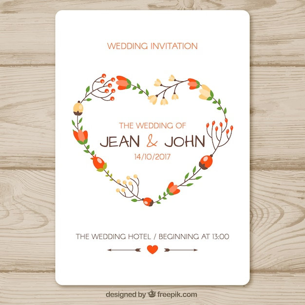 Wedding Invitation Template With Floral Heart Vector  Free Download