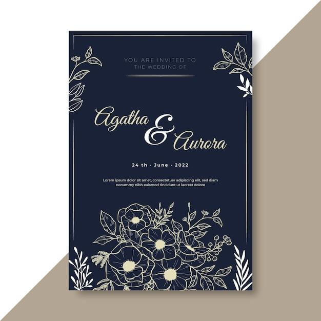 Modello di invito a nozze con ornamenti floreali Vettore gratuito