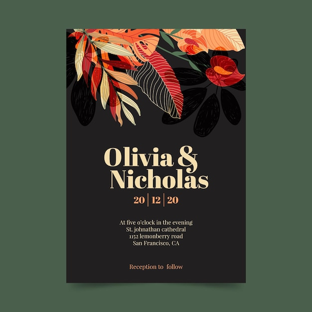 Wedding invitation template with floral ornaments Free Vector