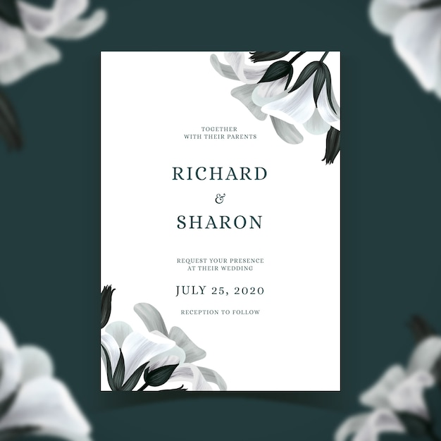 Wedding invitation template with flowers theme Free Vector